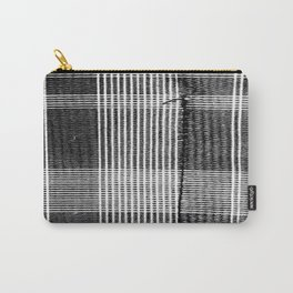Stitched Plaid in Black and White Carry-All Pouch