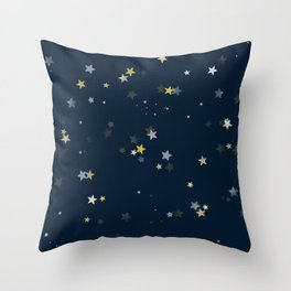 Gold & Silver Stars on Navy Blue pattern Throw Pillow