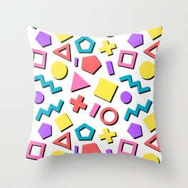Playful Toy Box Potpourri of Colorful Shapes Pattern Throw Pillow