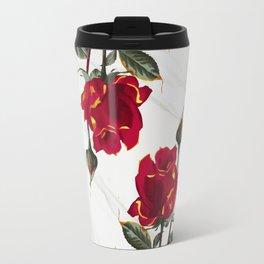 Red Roses - White Marble Travel Mug