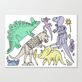 dinosaur friends Canvas Print