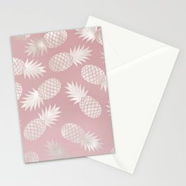 Blush Pineapple Pattern Stationery Cards