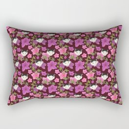 Cute Harlequin Cats and Pink Azalea on Burgundy Red  Rectangular Pillow