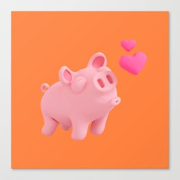 Rosa the Pig love Hearts! Canvas Print