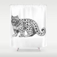 Snow Leopard cub g142 Shower Curtain