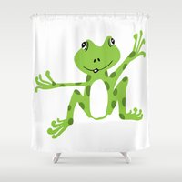frog Shower Curtains featuring Frog by PoseManikin
