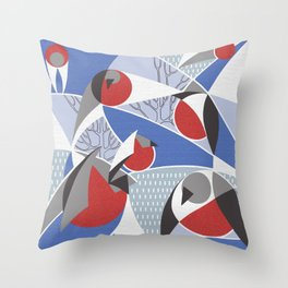 Birds bullfinches in blue, red and grey colors Throw Pillow