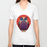 shipping V-neck T-shirts featuring OWL 2 by Ali GULEC