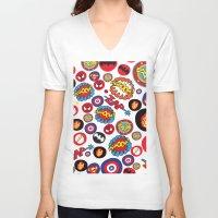 super hero V-neck T-shirts featuring Movie Super Hero logos by Nick's Emporium
