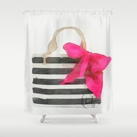 french Shower Curtains featuring French Outing  by Xchange Art Studio