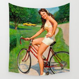 Pin Up Girl and Bicycle Retro Vintage Art Wall Tapestry