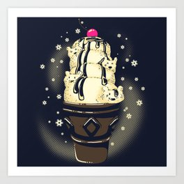 Ice Cream Bears (Dark Blue) Art Print