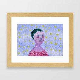 Her Falling Face Framed Art Print