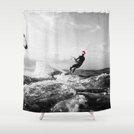 surf santa - kite surf Shower Curtain