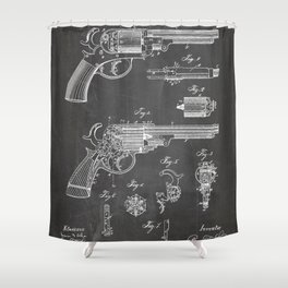 Western Revolver Patent - Antique Firearm Art - Black Chalkboard Shower Curtain