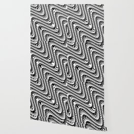 Black and White Serpentine Pattern Wallpaper