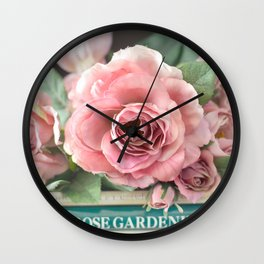 Roses Pink Peach Romantic Rose Flowers Gardening Decor Wall Clock