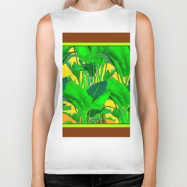 COFFEE BROWN TROPICAL GREEN & GOLD FOLIAGE ART Biker Tank