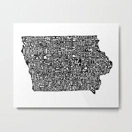 Typographic Iowa Metal Print