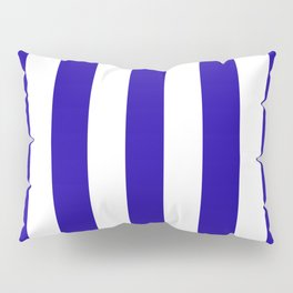Neon blue - solid color - white vertical lines pattern Pillow Sham