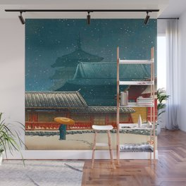 Vintage Japanese Woodblock Print Japanese Red Shinto Shrine Pagoda Winter Snow Wall Mural
