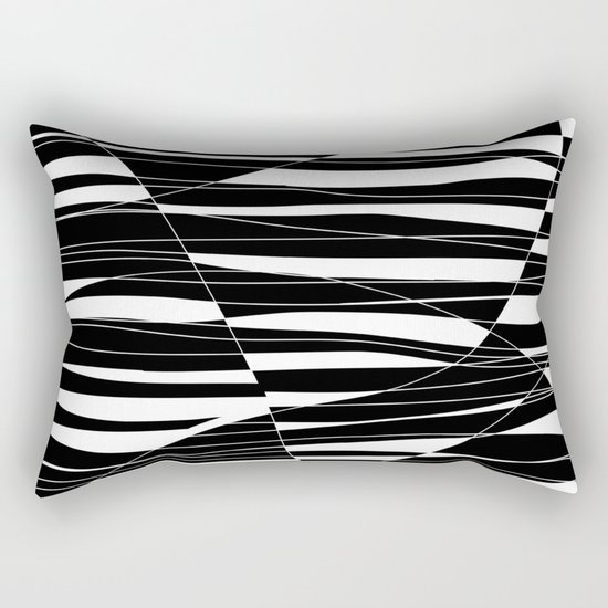 Carved Black and White Wave Rectangular Pillow
