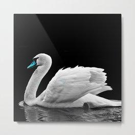 Blue Beak Swan Metal Print