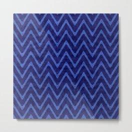 Deep Royal Blue Faux Suede Chevron Pattern Metal Print
