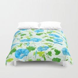 blue morning glory pattern Duvet Cover