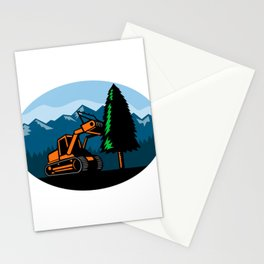 Forestry Mulcher Tearing Tree Oval Retro Stationery Cards