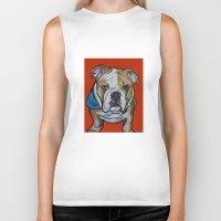 english bulldog Biker Tanks featuring Johnny the English Bulldog by Pawblo Picasso