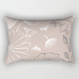 Line Art, Pink and Gray, Floral Prints Rectangular Pillow