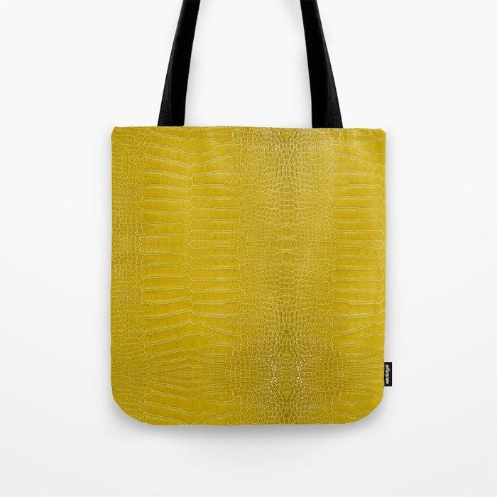 Yellow Alligator Leather Print Tote Bag