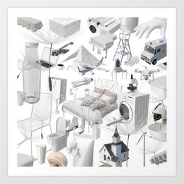 Cracking The White Objects Code Art Print