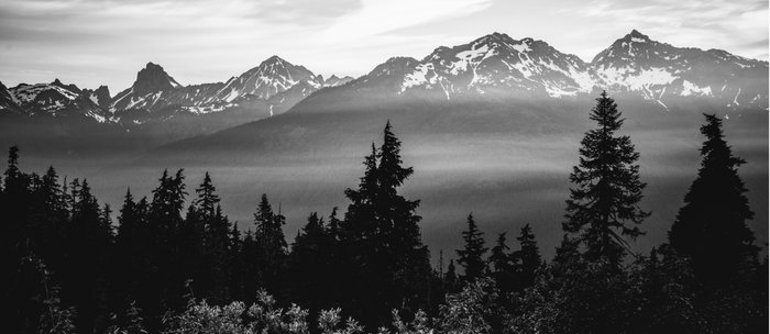 Morning in the Mountains Black and White Coffee Mug