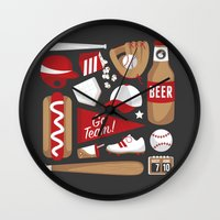 baseball Wall Clocks featuring Baseball by Jessica Giles