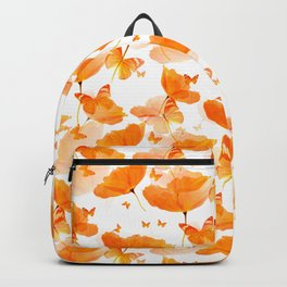 Orange Poppies And Butterflies On A White Background #decor #society6 #buyart Backpack