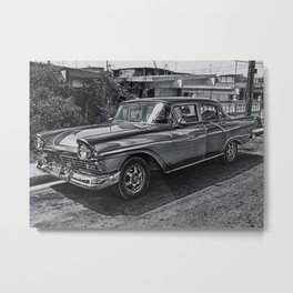 Old Car in Black and White Metal Print