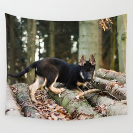 Cold snout playing in the forest Wall Tapestry