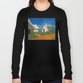 Three white cottages in Saintes-Maries by Vincent van Gogh Long Sleeve T-shirt
