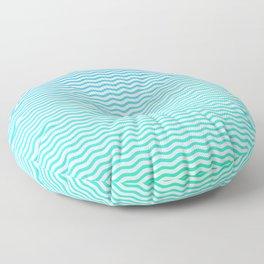 Aqua and White Ombre Shaded Wavy Chevron Stripe Floor Pillow