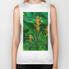 GREEN JUNGLE & TROPICAL CORAL BROMELIAD FLOWERS Biker Tank