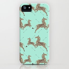Royal Tenenbaums Zebra Wallpaper - Seafoam green iPhone Case