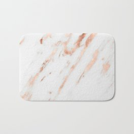 Pink Quartz Marble Rose Gold White Bath Mat