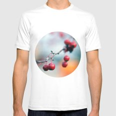 Fall Berries White MEDIUM Mens Fitted Tee