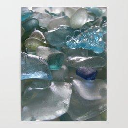 Ocean Hue Sea Glass Assortment Poster
