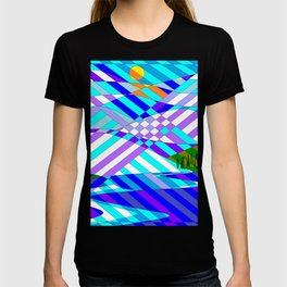 Kentucky Mountains and Lake in Winter Quilt Abstract T-shirt