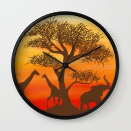 African Animals Sunset Wall Clock