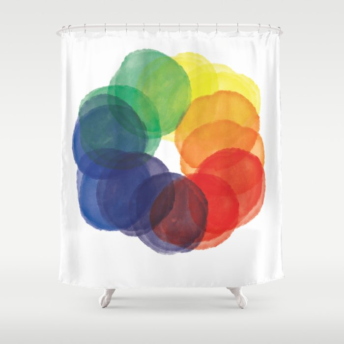 Watercolor Wheel Shower Curtain