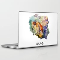 poland Laptop & iPad Skins featuring Map of Poland watercolor by jbjart
